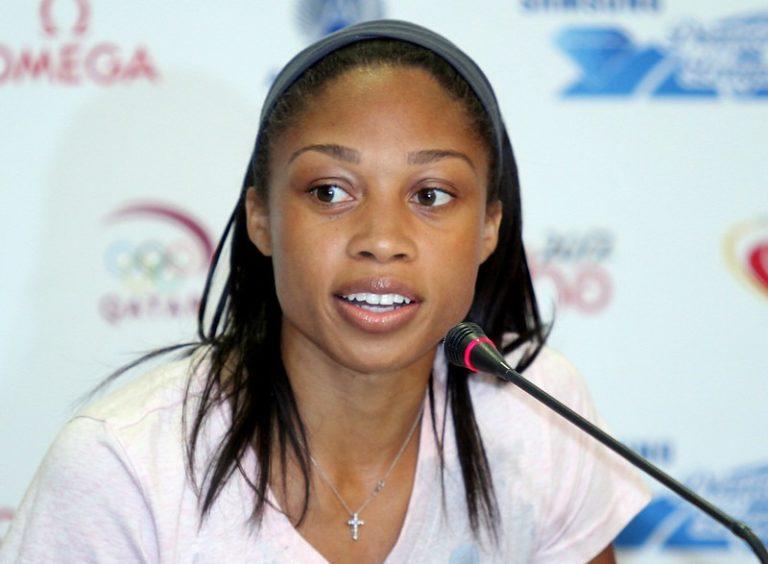 La sprinteuse américaine Allyson Felix lors d'une conférence de presse avant la Diamond League 2012 à Doha.